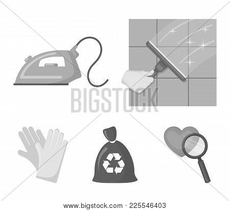 Cleaning And Maid Monochrome Icons In Set Collection For Design. Equipment For Cleaning Vector Symbo