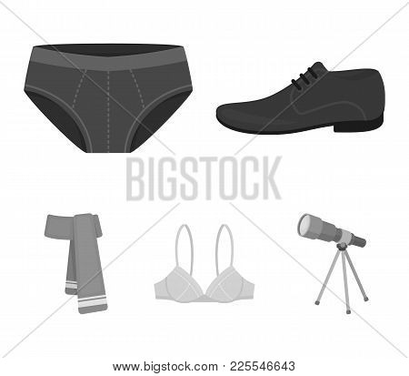 Male Shoes, Bra, Panties, Scarf, Leather. Clothing Set Collection Icons In Monochrome Style Vector S