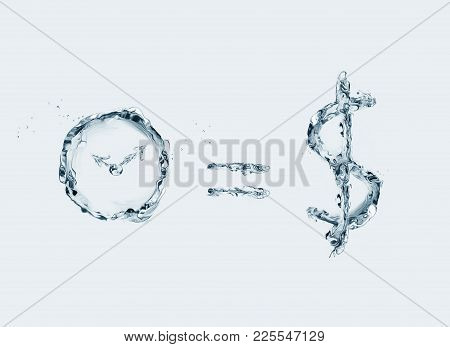 A Business Concept Representing The Saying That Time Is Money. All Elements Made Of Water Photos.