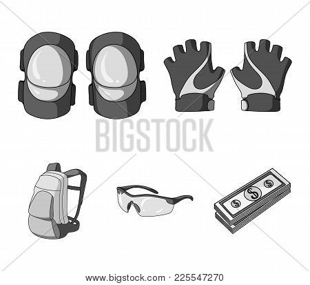 Gloves, Elbow Pads, Goggles, Cyclist Backpack.cyclist Outfit Set Collection Icons In Monochrome Styl