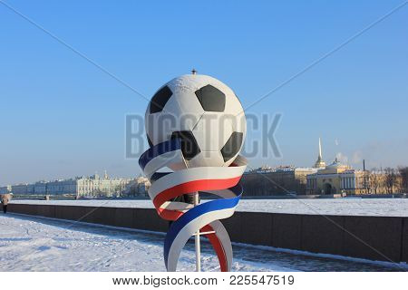 St. Petersburg, Russia - January 31, 2018: Fifa World Cup 2018 Football Icon Decoration. Soccer Ball
