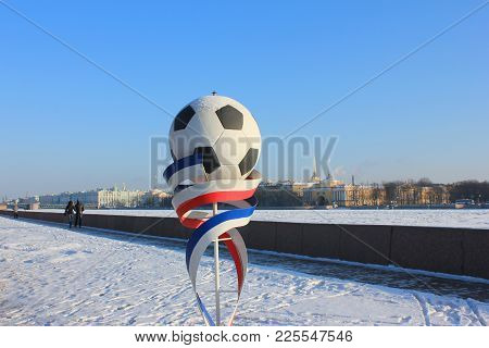 St. Petersburg, Russia - January 31, 2018: Football Installation Symbol Of Fifa World Cup 2018. Socc