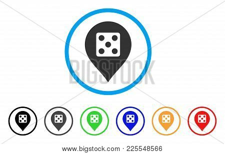 Dice Casino Marker Icon. Vector Illustration Style Is A Flat Iconic Dice Casino Marker Black Symbol