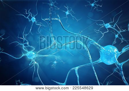 Conceptual Illustration Of Neuron Cells With Glowing Link Knots. Synapse And Neuron Cells Sending El