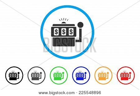 Slot Machine Icon. Vector Illustration Style Is A Flat Iconic Slot Machine Black Symbol With Gray, Y