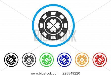 Luck Casino Chip Icon. Vector Illustration Style Is A Flat Iconic Luck Casino Chip Black Symbol With