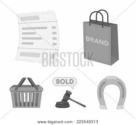 Bag And Paper, Check, Calculation And Other Equipment. E Commerce Set Collection Icons In Monochrome