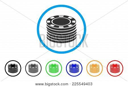 Casino Chip Stack Icon. Vector Illustration Style Is A Flat Iconic Casino Chip Stack Black Symbol Wi