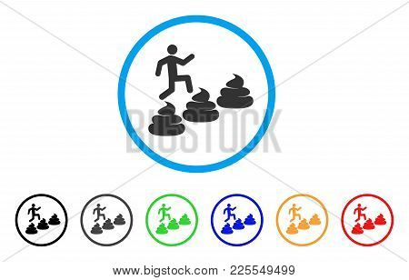 Person Climbing Shit Levels Icon. Vector Illustration Style Is A Flat Iconic Person Climbing Shit Le