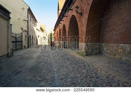 Empty Streets Of The Old Town Of Riga Pavers Early Summer Morning