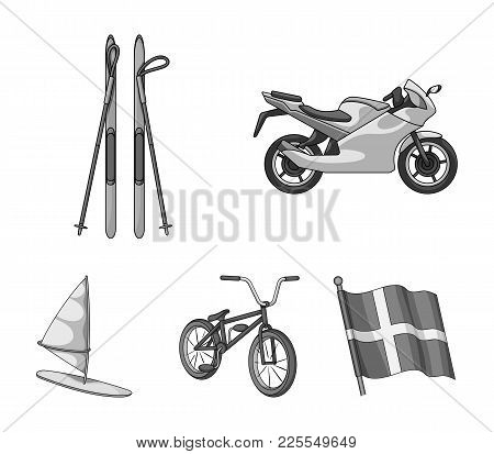 Motorcycle, Mountain Skiing, Biking, Surfing With A Sail.extreme Sport Set Collection Icons In Monoc