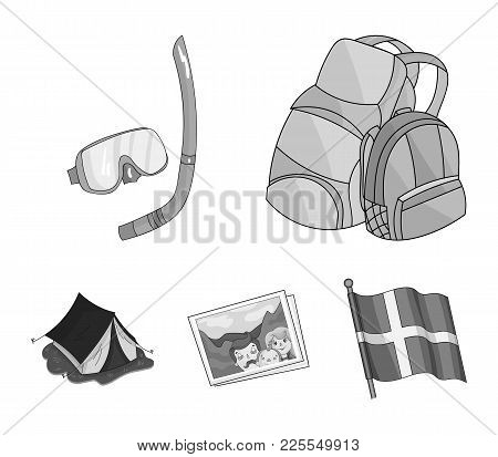 Travel, Vacation, Backpack, Luggage .family Holiday Set Collection Icons In Monochrome Style Vector