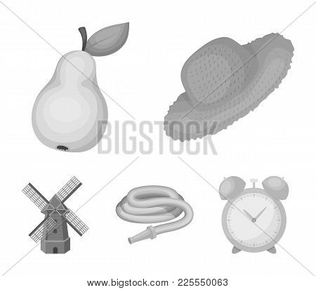 Straw Hat, Pear With Leaf, Watering Hose, Windmill. Farmer And Gardening Set Collection Icons In Mon