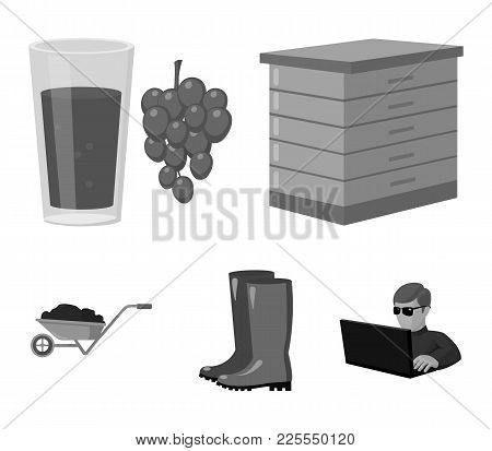 Hive, Grapes, Boots, Wheelbarrow.farm Set Collection Icons In Monochrome Style Vector Symbol Stock I