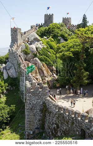 Sintra, Portugal - June 3, 2017: People Walking On The Walls Of The Castle Of The Moors. The Castle