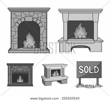 Fire, Warmth And Comfort.fireplace Set Collection Icons In Monochrome Style Vector Symbol Stock Illu