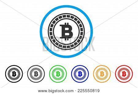 Bitcoin Casino Roulette Icon. Vector Illustration Style Is A Flat Iconic Bitcoin Casino Roulette Bla