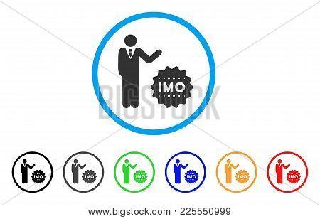 Businessman Show Imo Token Icon. Vector Illustration Style Is A Flat Iconic Businessman Show Imo Tok