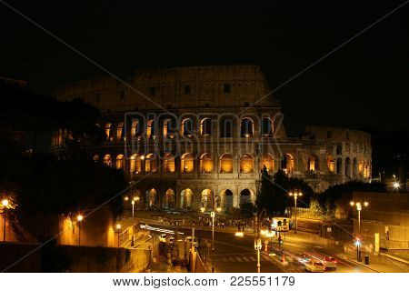 Summer. Italy. Rome. Night Colosseum With Illumination.