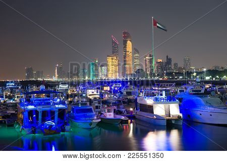 Yacht Harbour Near The Marina Mall In Abu Dhabi With The Skyline In The Back.