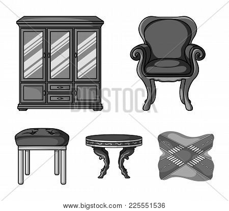 Furniture, Interior, Design, Chair .furniture And Home Interiorset Collection Icons In Monochrome St