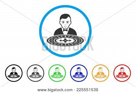 Roulette Dealer Icon. Vector Illustration Style Is A Flat Iconic Roulette Dealer Black Symbol With G