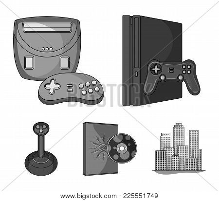 Game Console, Joystick And Disc Monochrome Icons In Set Collection For Design.game Gadgets Vector Sy