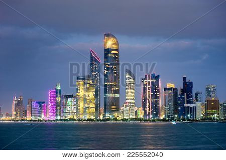 Skyline Of Abu Dhabi In The Beginning Of The Twilight