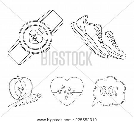 Heart Rhythm, Vitamins And Other Equipment For Training.gym And Workout Set Collection Icons In Outl