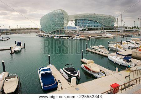 Abu Dhabi, United Arab Emirates - 04 Jan, 2018: Harbour And Hotel Of The Yasmina Circuit In Abu Dhab
