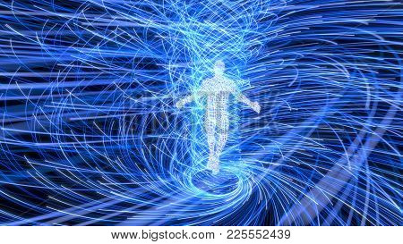 Artificial Intelligence Figure In The Center Of Energy Vortex. Suitable For Any Concept About, Techn
