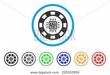 Cpu Casino Chip Icon. Vector Illustration Style Is A Flat Iconic Cpu Casino Chip Black Symbol With G