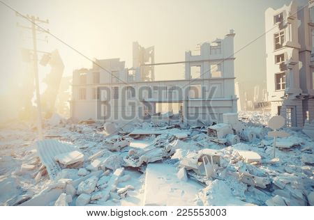 apocalyptic white city sunset. Creative 3D illustration