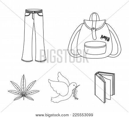 A Cannabis Leaf, A Dove, Jeans, A Backpack.hippy Set Collection Icons In Outline Style Vector Symbol