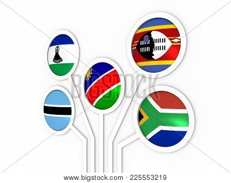 Southern African Customs Union - Association Of Five National Economies Members Flags. Global Teamwo