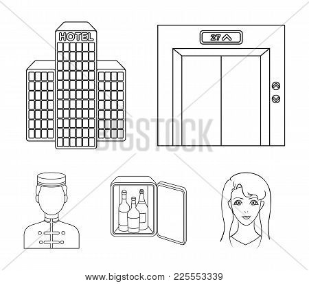 Elevator Car, Mini Bar, Staff, Building.hotel Set Collection Icons In Outline Style Vector Symbol St