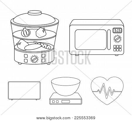 Steamer, Microwave Oven, Scales, Lcd Tv.household Set Collection Icons In Outline Style Vector Symbo