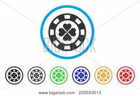 Lucky Casino Chip Icon. Vector Illustration Style Is A Flat Iconic Lucky Casino Chip Black Symbol Wi