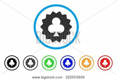Clubs Token Icon. Vector Illustration Style Is A Flat Iconic Clubs Token Black Symbol With Gray, Yel