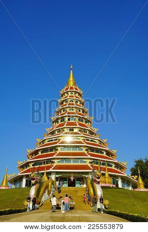 Chiang Rai, Thailand - December 24 2017 : Chinese Style Pagoda In Wat Huay Pla Kang Temple In Chiang