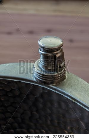 Old Metal Flask With Top Closed, Drinking Alcoholism Addiction Concept, Copy Space, Vertical Aspect