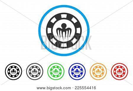 Monster Casino Chip Icon. Vector Illustration Style Is A Flat Iconic Monster Casino Chip Black Symbo