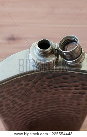 Top View Of Open Flask, Drinking Alcoholism Addiction Concept, Selective Focus, Copy Space, Vertical