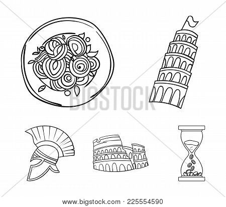 Pisa Tower, Pasta, Coliseum, Legionnaire Helmet.italy Country Set Collection Icons In Outline Style