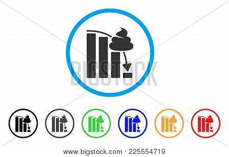 Shit Fall Down Chart Icon. Vector Illustration Style Is A Flat Iconic Shit Fall Down Chart Black Sym