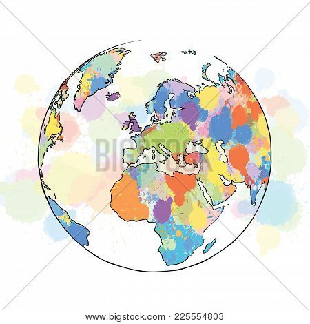 Colorful Map Europe Globe. Hand Drawn Vector Illustration, Paint Splatter Color Isolated On White Ba