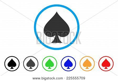 Spades Suit Icon. Vector Illustration Style Is A Flat Iconic Spades Suit Black Symbol With Gray, Yel
