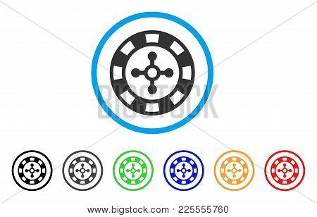 Roulette Casino Chip Icon. Vector Illustration Style Is A Flat Iconic Roulette Casino Chip Black Sym