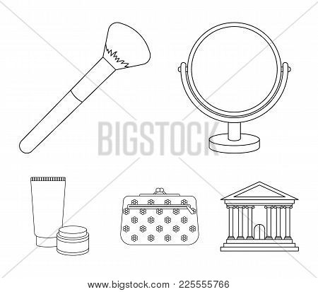 Table Mirror, Cosmetic Bag, Face Brush, Body Cream.makeup Set Collection Icons In Outline Style Vect