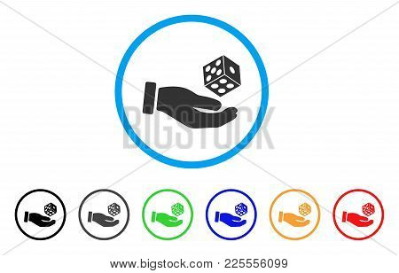 Hand Throw Dice Icon. Vector Illustration Style Is A Flat Iconic Hand Throw Dice Black Symbol With G